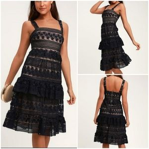NWT Lulu's Navy Lace Ruffle Midi Dress